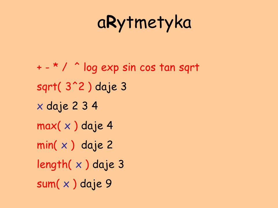 aRytmetyka + - * / ^ log exp sin cos tan sqrt sqrt( 3^2 ) daje 3
