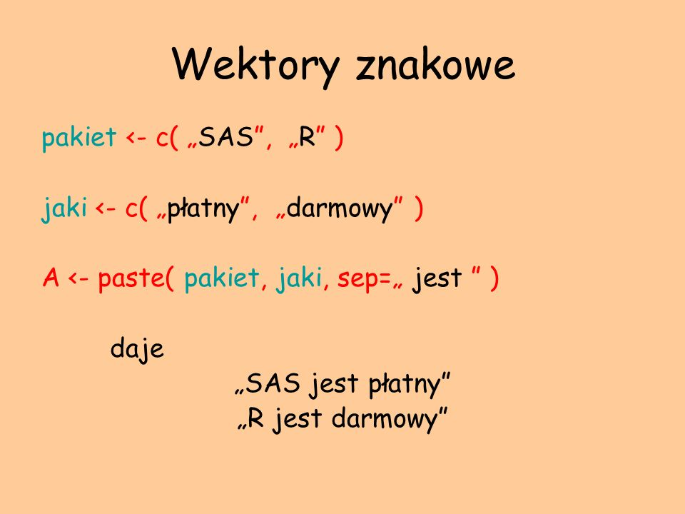 """Wektory znakowe pakiet <- c( """"SAS , """"R )"""