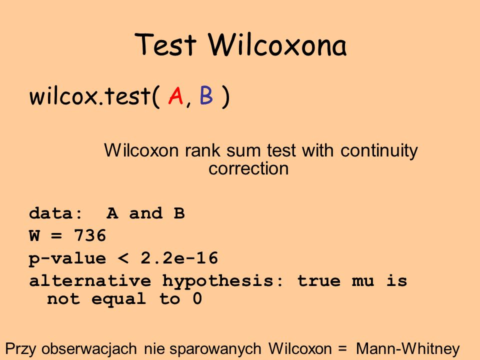 Wilcoxon rank sum test with continuity correction