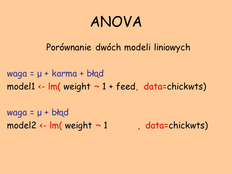 Porównanie dwóch modeli liniowych