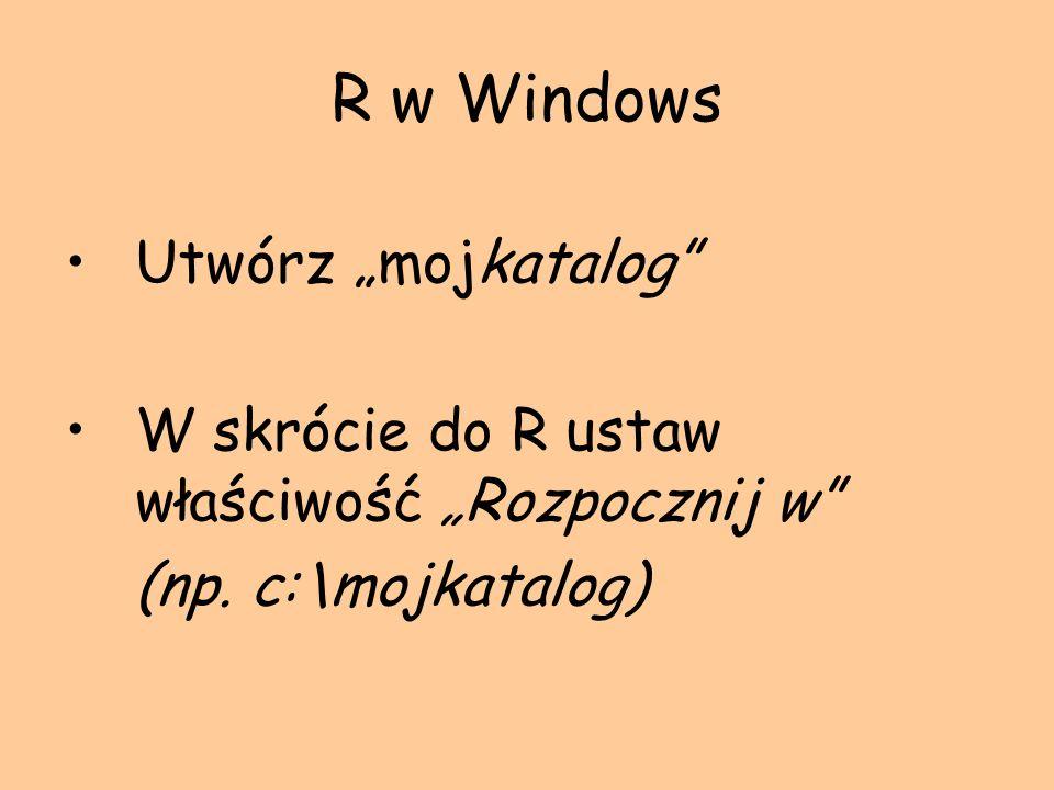 """R w Windows Utwórz """"mojkatalog"""