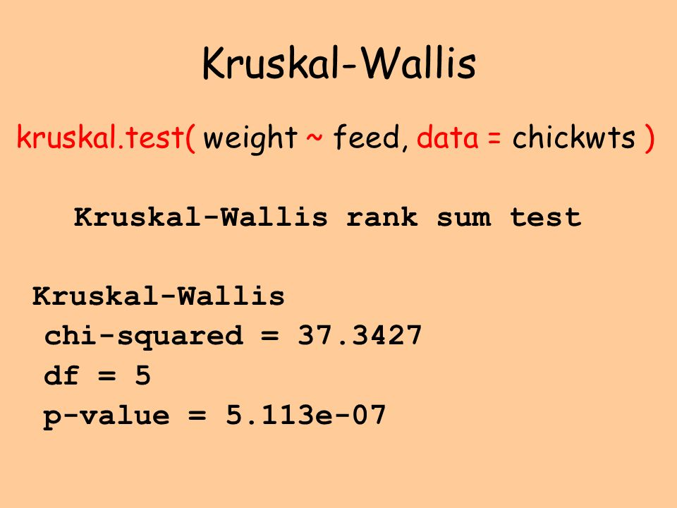 Kruskal-Wallis kruskal.test( weight ~ feed, data = chickwts )