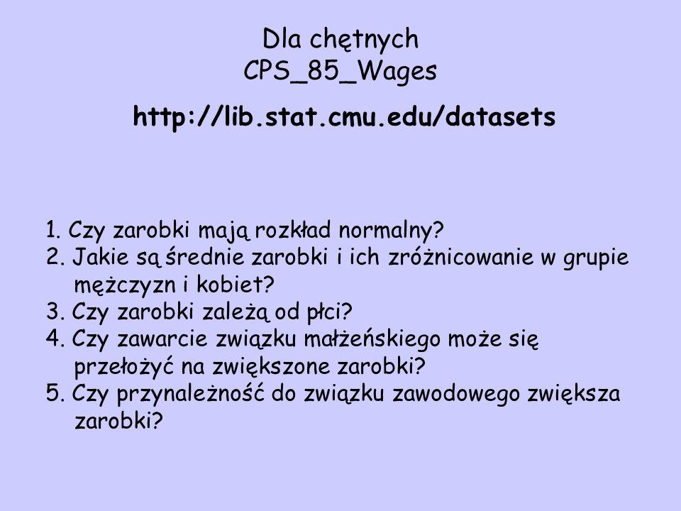 Dla chętnych CPS_85_Wages http://lib.stat.cmu.edu/datasets