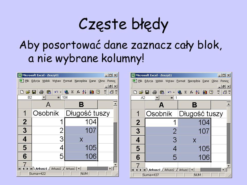 Częste błędy Aby posortować dane zaznacz cały blok, a nie wybrane kolumny!