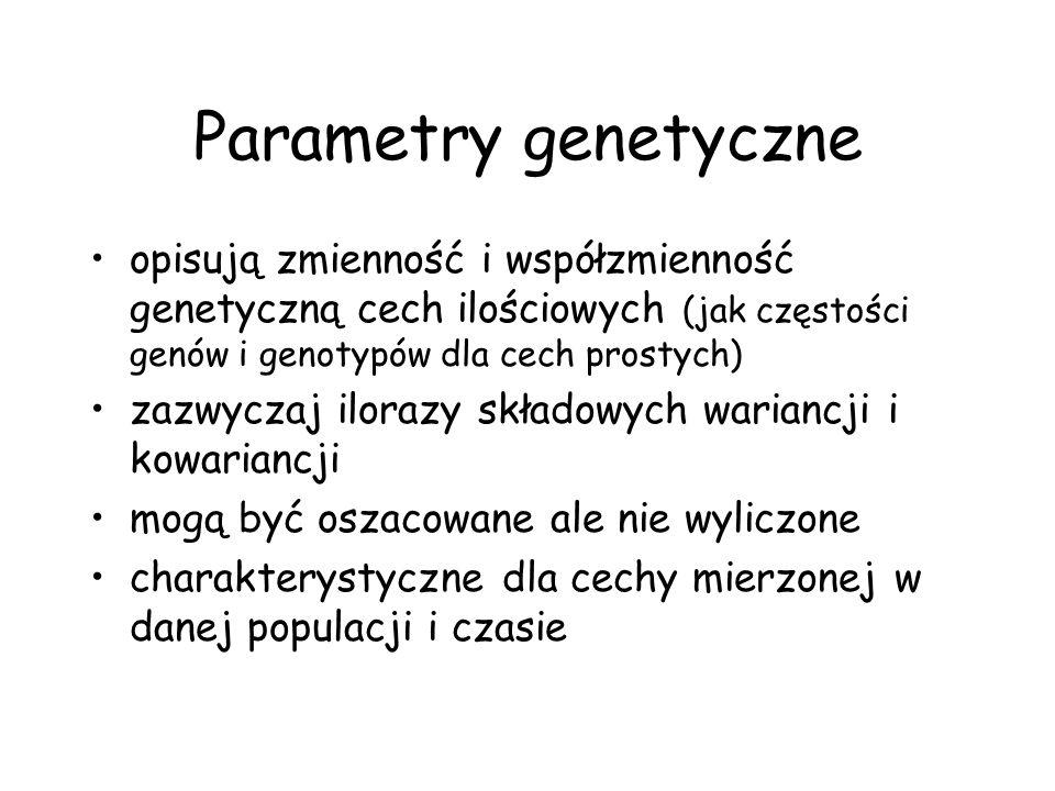 Parametry genetyczneopisują zmienność i współzmienność genetyczną cech ilościowych (jak częstości genów i genotypów dla cech prostych)