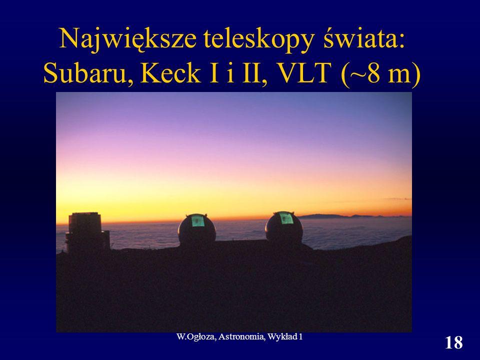 Największe teleskopy świata: Subaru, Keck I i II, VLT (~8 m)
