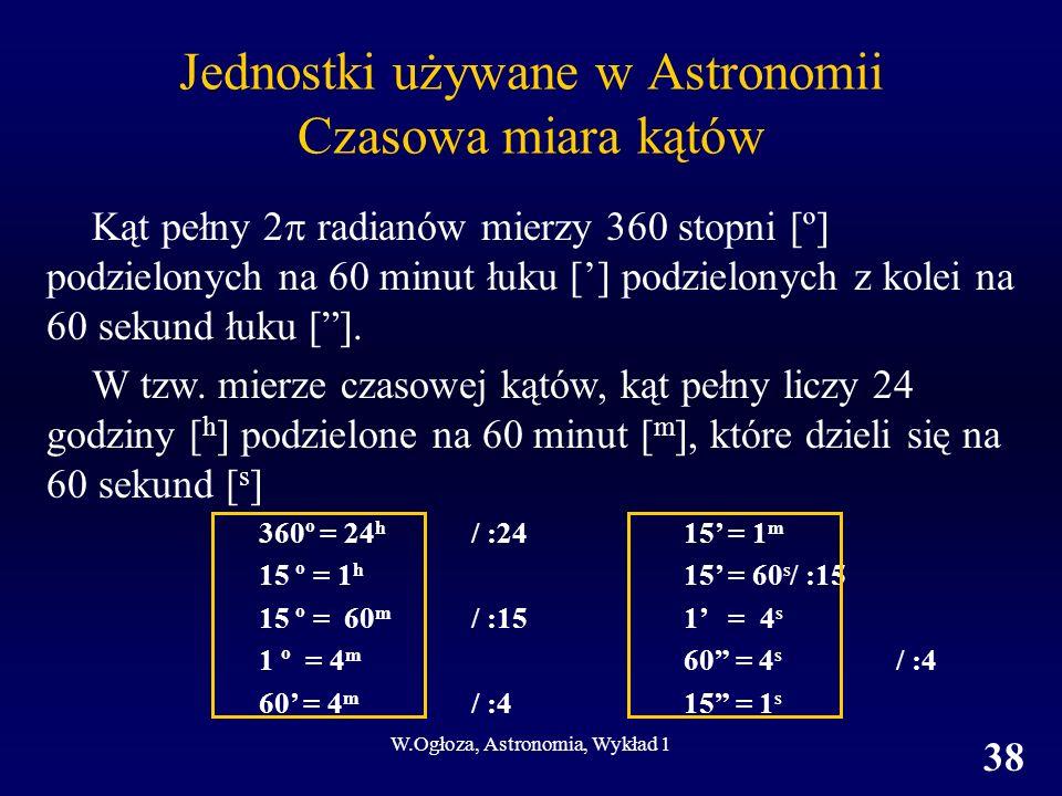 Jednostki używane w Astronomii Czasowa miara kątów