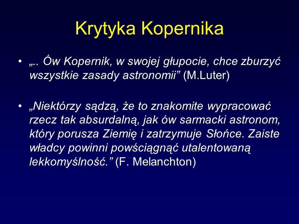 """Krytyka Kopernika """".. Ów Kopernik, w swojej głupocie, chce zburzyć wszystkie zasady astronomii (M.Luter)"""