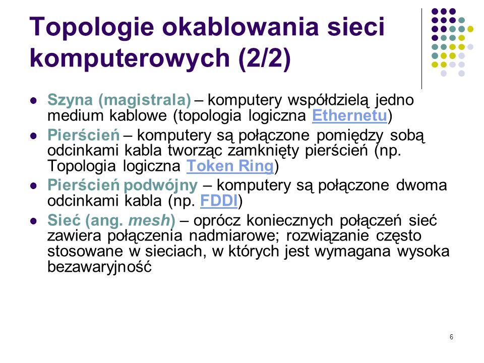 Topologie okablowania sieci komputerowych (2/2)
