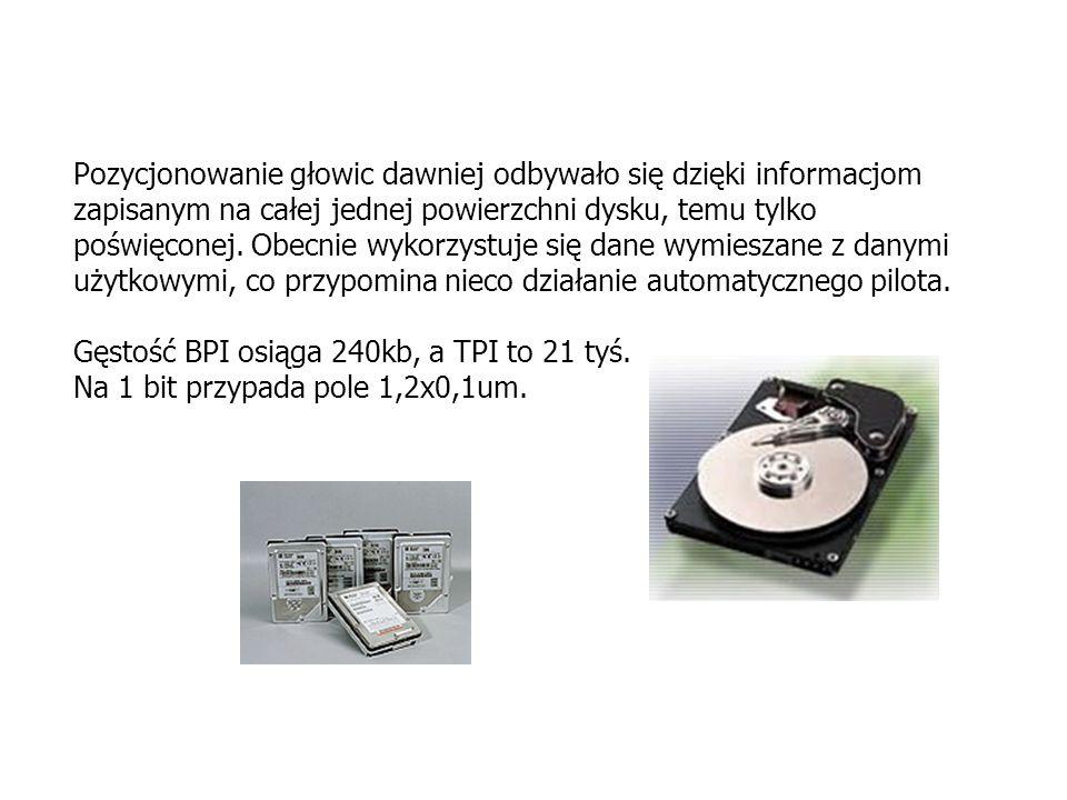 Pozycjonowanie głowic dawniej odbywało się dzięki informacjom zapisanym na całej jednej powierzchni dysku, temu tylko poświęconej.