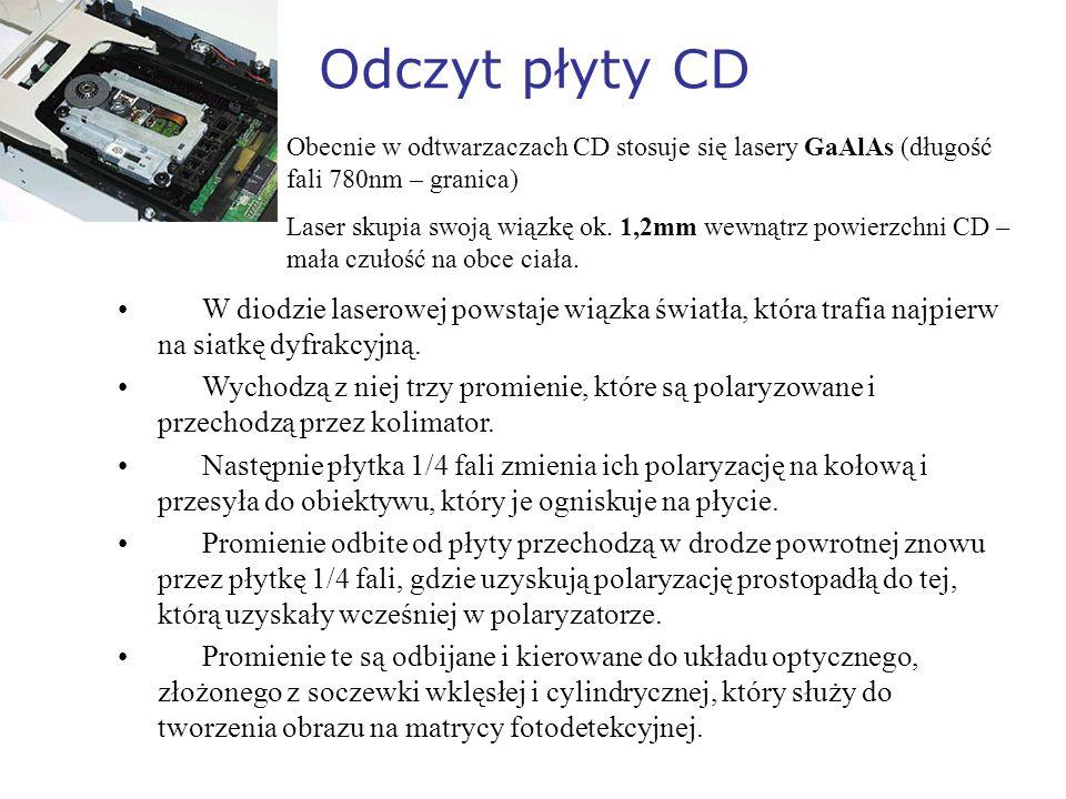 Odczyt płyty CDObecnie w odtwarzaczach CD stosuje się lasery GaAlAs (długość fali 780nm – granica)