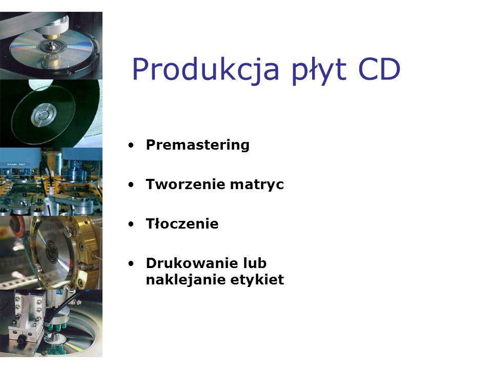 Produkcja płyt CD Premastering Tworzenie matryc Tłoczenie