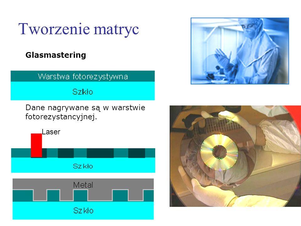 Tworzenie matryc Glasmastering Dane nagrywane są w warstwie