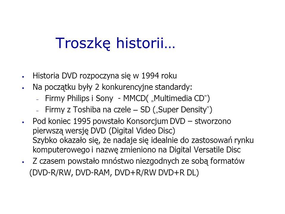 Troszkę historii… Historia DVD rozpoczyna się w 1994 roku