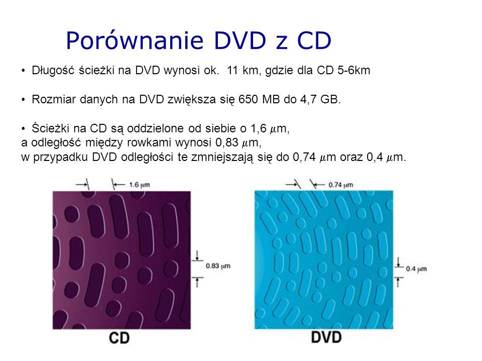 Porównanie DVD z CDDługość ścieżki na DVD wynosi ok. 11 km, gdzie dla CD 5-6km. Rozmiar danych na DVD zwiększa się 650 MB do 4,7 GB.
