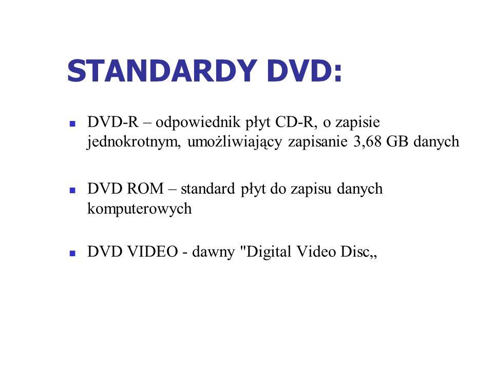 STANDARDY DVD:DVD-R – odpowiednik płyt CD-R, o zapisie jednokrotnym, umożliwiający zapisanie 3,68 GB danych.