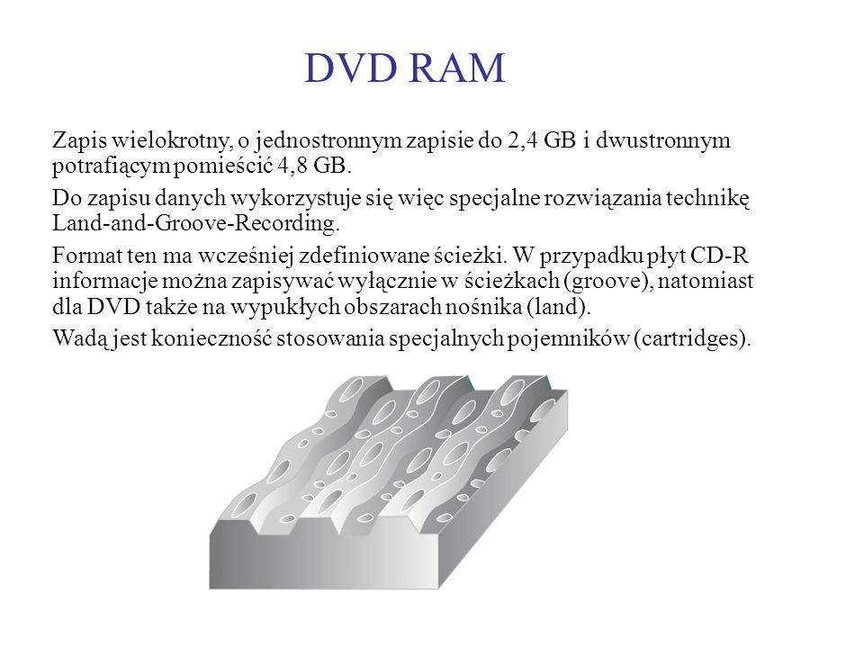 DVD RAMZapis wielokrotny, o jednostronnym zapisie do 2,4 GB i dwustronnym potrafiącym pomieścić 4,8 GB.