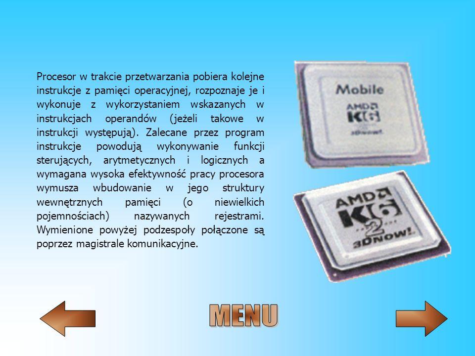 Procesor w trakcie przetwarzania pobiera kolejne instrukcje z pamięci operacyjnej, rozpoznaje je i wykonuje z wykorzystaniem wskazanych w instrukcjach operandów (jeżeli takowe w instrukcji występują). Zalecane przez program instrukcje powodują wykonywanie funkcji sterujących, arytmetycznych i logicznych a wymagana wysoka efektywność pracy procesora wymusza wbudowanie w jego struktury wewnętrznych pamięci (o niewielkich pojemnościach) nazywanych rejestrami. Wymienione powyżej podzespoły połączone są poprzez magistrale komunikacyjne.