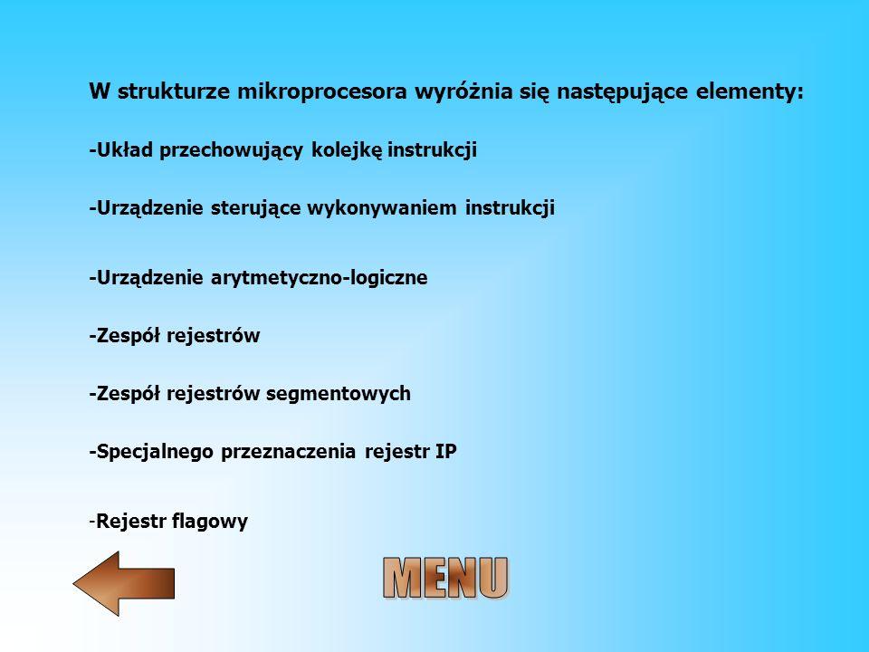 MENU W strukturze mikroprocesora wyróżnia się następujące elementy: