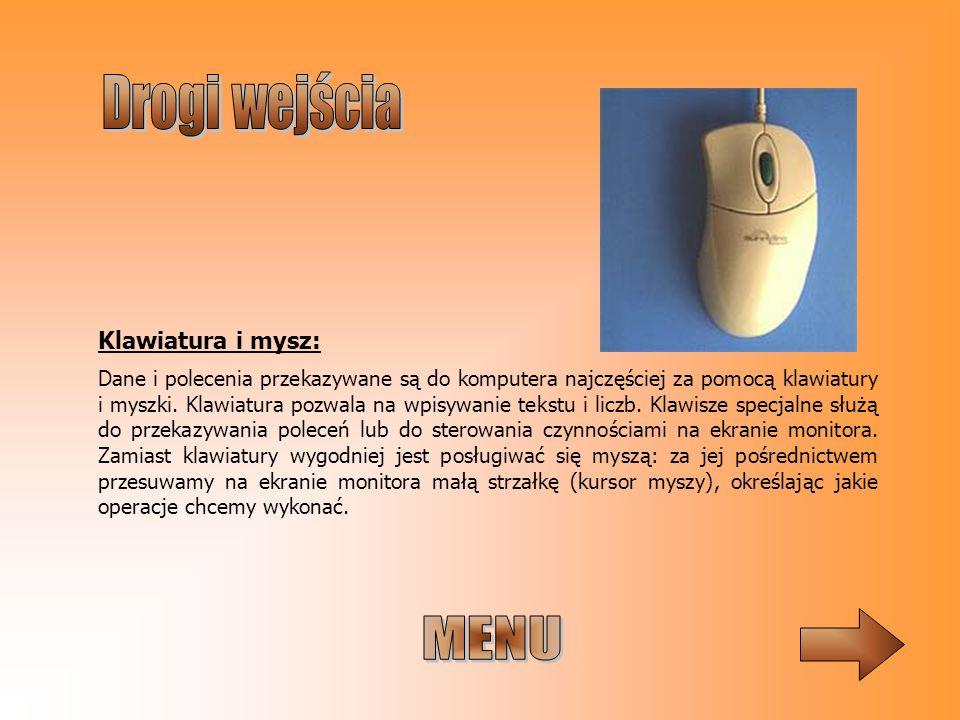 MENU Drogi wejścia Klawiatura i mysz: