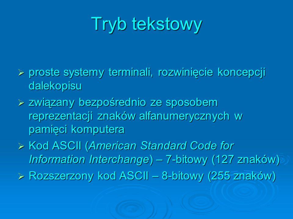 Tryb tekstowy proste systemy terminali, rozwinięcie koncepcji dalekopisu.