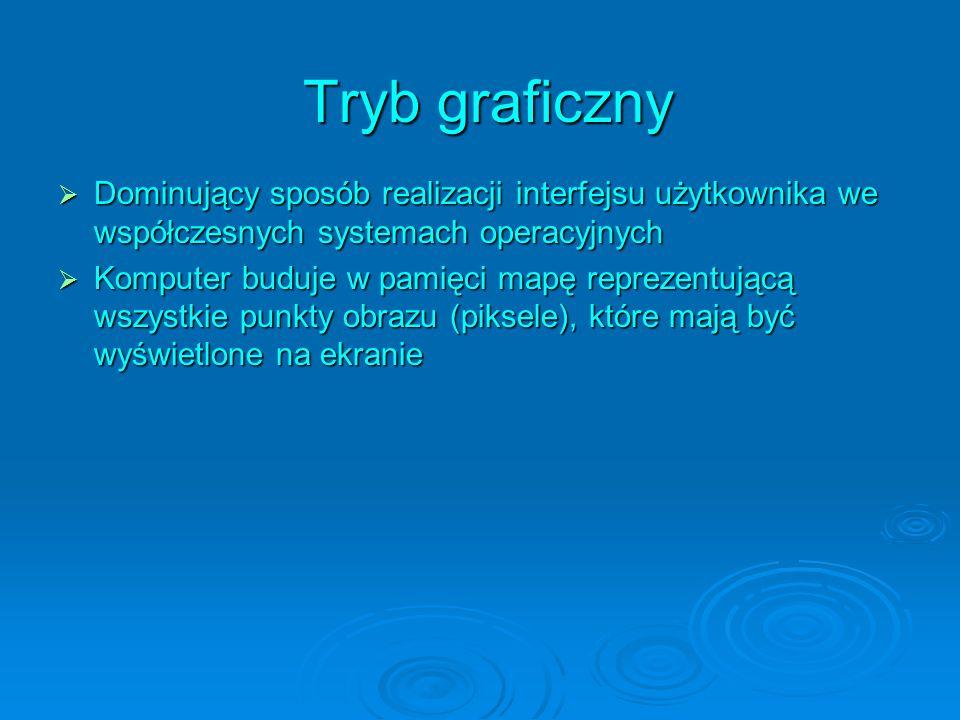Tryb graficzny Dominujący sposób realizacji interfejsu użytkownika we współczesnych systemach operacyjnych.