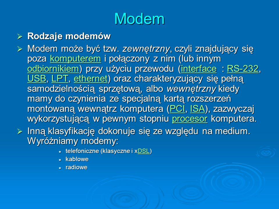 Modem Rodzaje modemów.