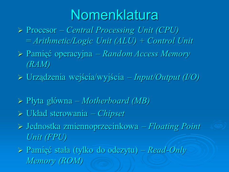 Nomenklatura Procesor – Central Processing Unit (CPU) = Arithmetic/Logic Unit (ALU) + Control Unit.