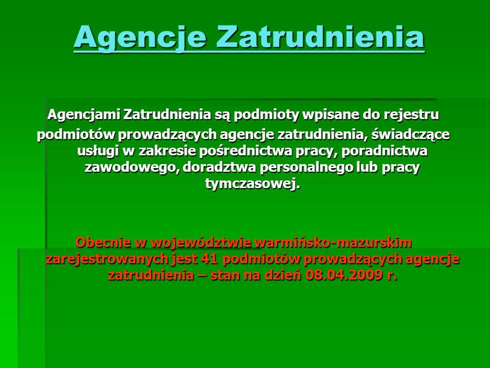 Agencjami Zatrudnienia są podmioty wpisane do rejestru