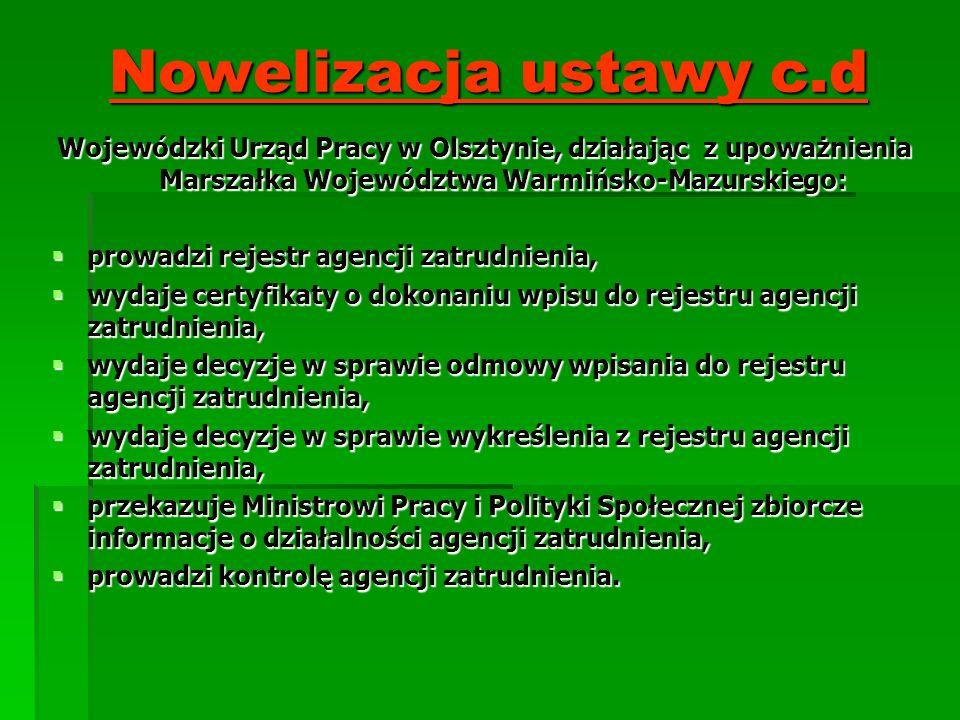 Nowelizacja ustawy c.d Wojewódzki Urząd Pracy w Olsztynie, działając z upoważnienia Marszałka Województwa Warmińsko-Mazurskiego: