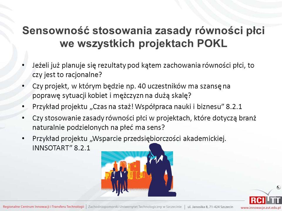 Sensowność stosowania zasady równości płci we wszystkich projektach POKL