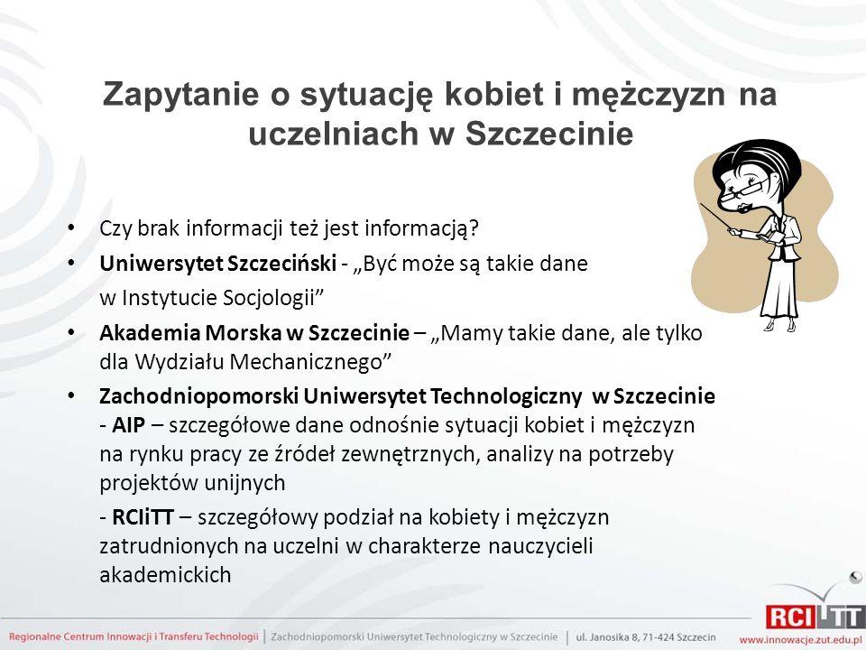 Zapytanie o sytuację kobiet i mężczyzn na uczelniach w Szczecinie