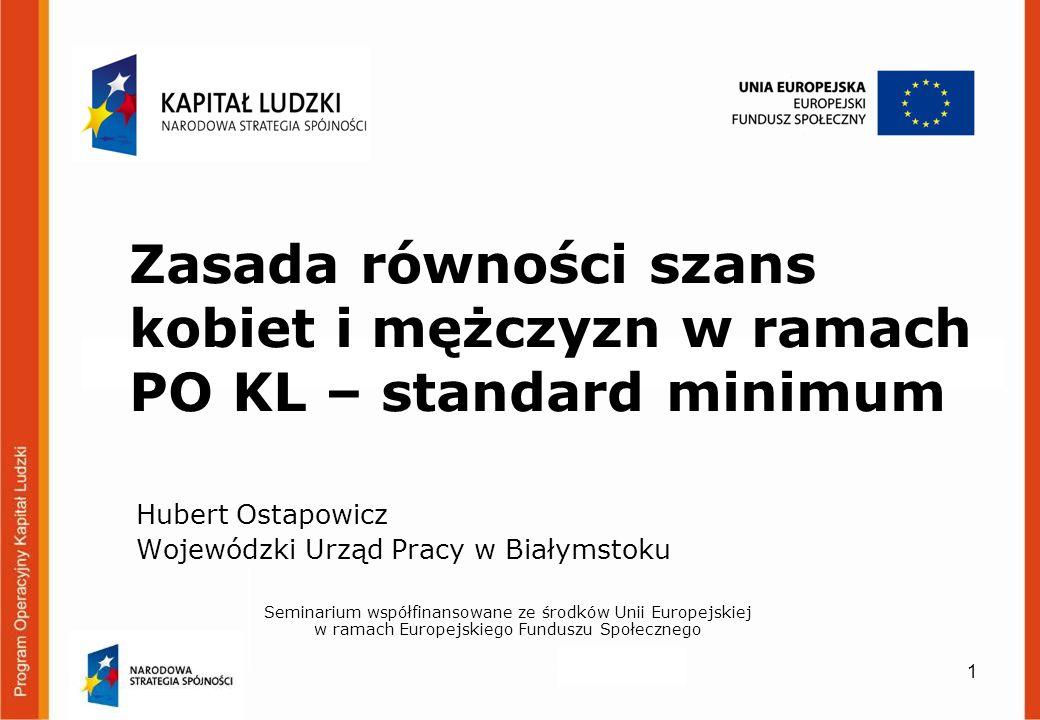 Zasada równości szans kobiet i mężczyzn w ramach PO KL – standard minimum