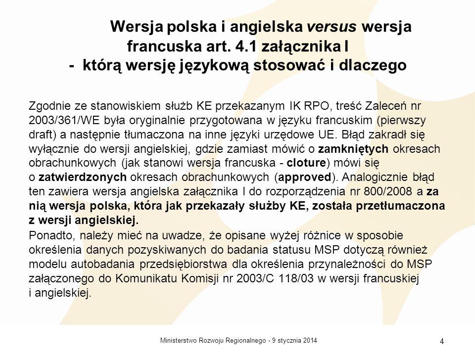 Wersja polska i angielska versus wersja francuska art. 4
