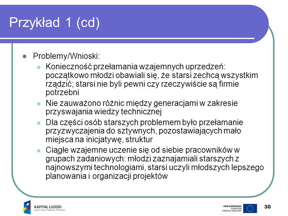Przykład 1 (cd) Problemy/Wnioski: