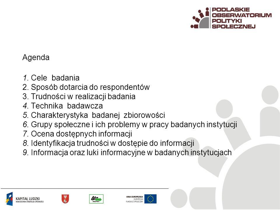 Agenda 1. Cele badania 2. Sposób dotarcia do respondentów 3