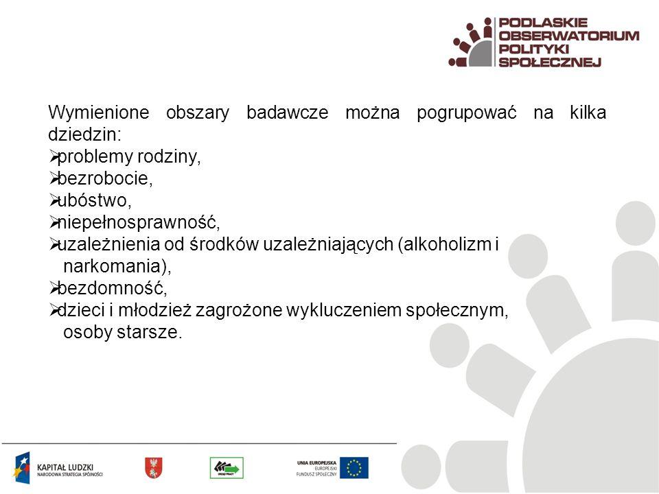 Wymienione obszary badawcze można pogrupować na kilka dziedzin: