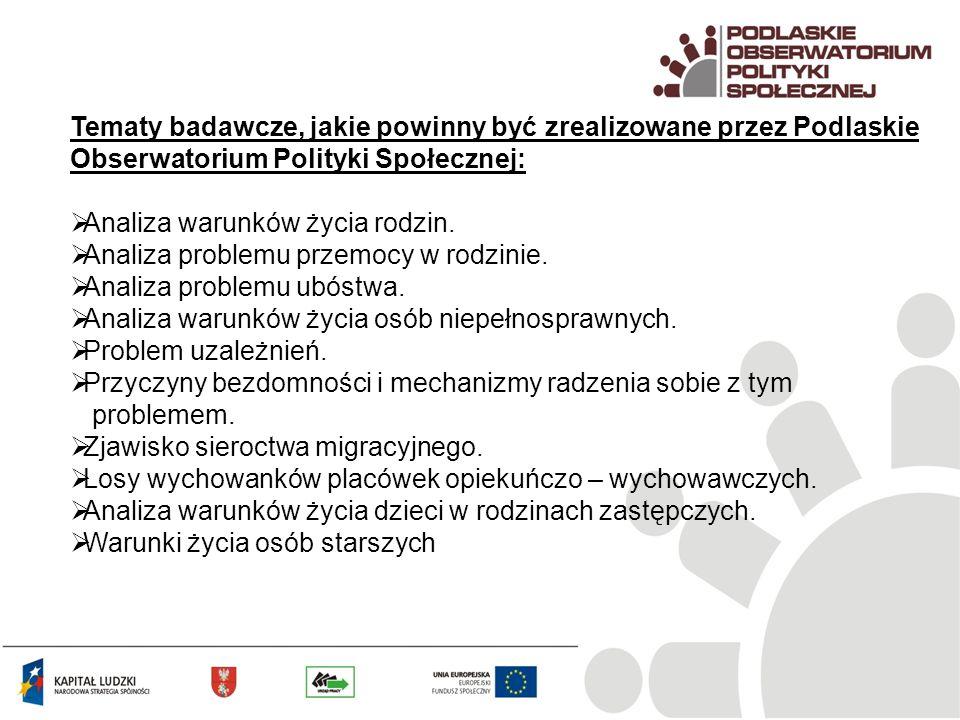 Tematy badawcze, jakie powinny być zrealizowane przez Podlaskie Obserwatorium Polityki Społecznej: