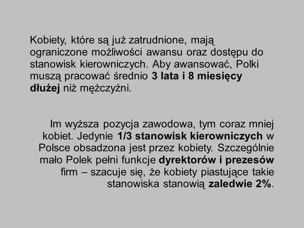 Kobiety, które są już zatrudnione, mają ograniczone możliwości awansu oraz dostępu do stanowisk kierowniczych. Aby awansować, Polki muszą pracować średnio 3 lata i 8 miesięcy dłużej niż mężczyźni.