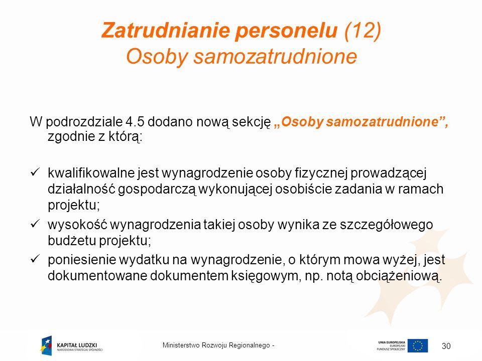 Zatrudnianie personelu (12) Osoby samozatrudnione