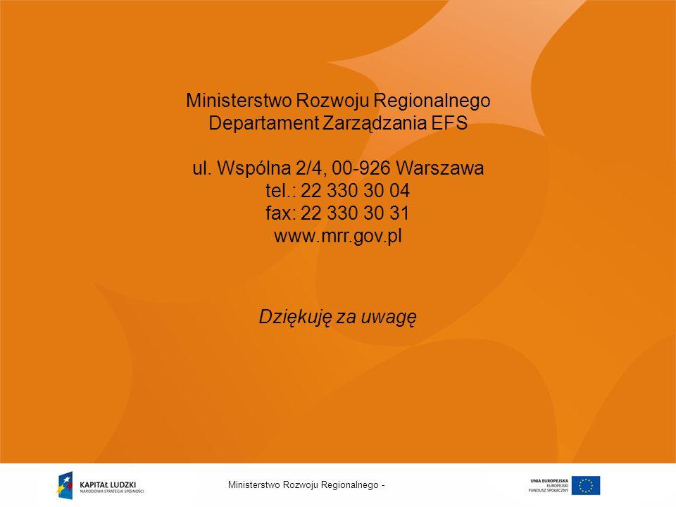 Ministerstwo Rozwoju Regionalnego Departament Zarządzania EFS ul