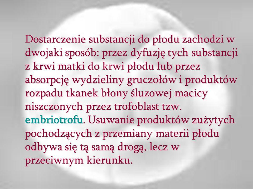 Dostarczenie substancji do płodu zachodzi w dwojaki sposób: przez dyfuzję tych substancji z krwi matki do krwi płodu lub przez absorpcję wydzieliny gruczołów i produktów rozpadu tkanek błony śluzowej macicy niszczonych przez trofoblast tzw.