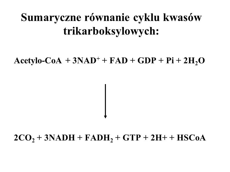Sumaryczne równanie cyklu kwasów trikarboksylowych: