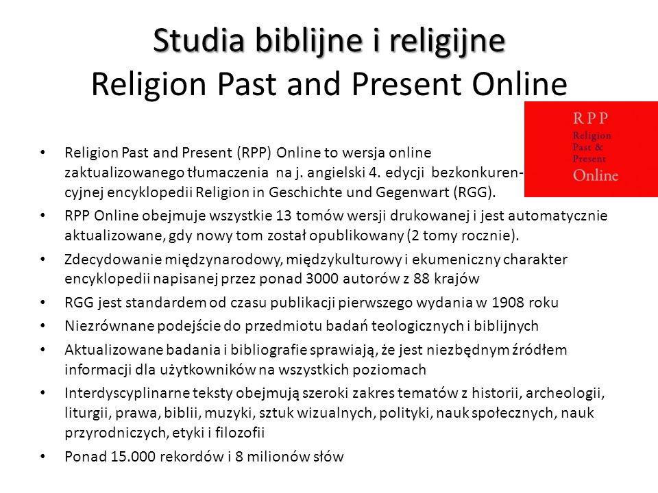 Studia biblijne i religijne Religion Past and Present Online
