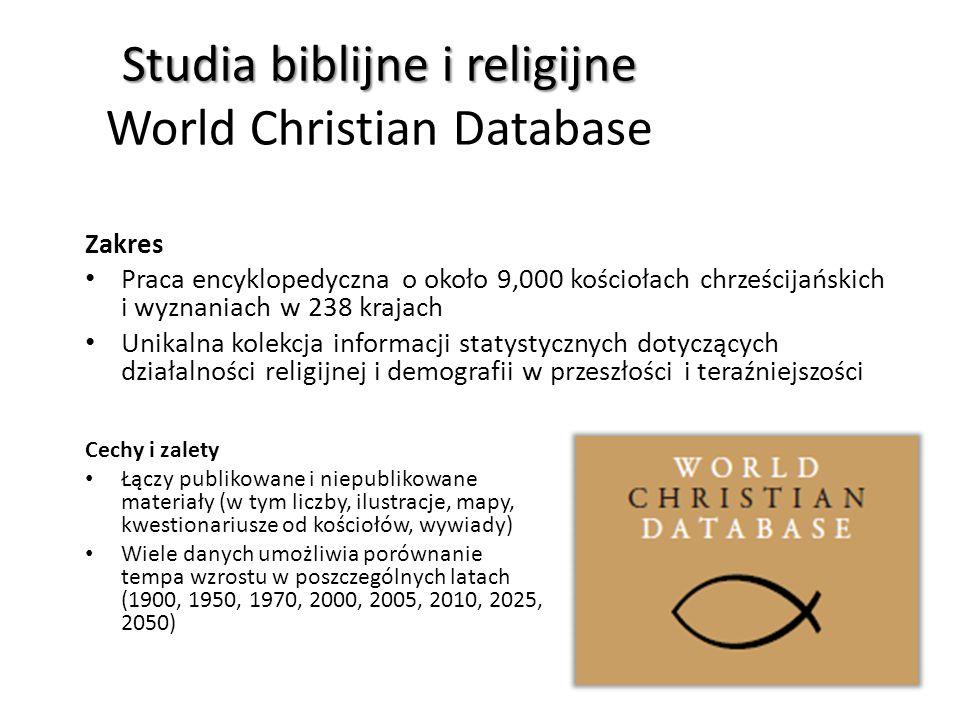 Studia biblijne i religijne World Christian Database