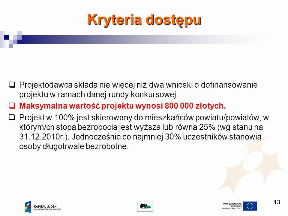 Kryteria dostępu Projektodawca składa nie więcej niż dwa wnioski o dofinansowanie projektu w ramach danej rundy konkursowej.