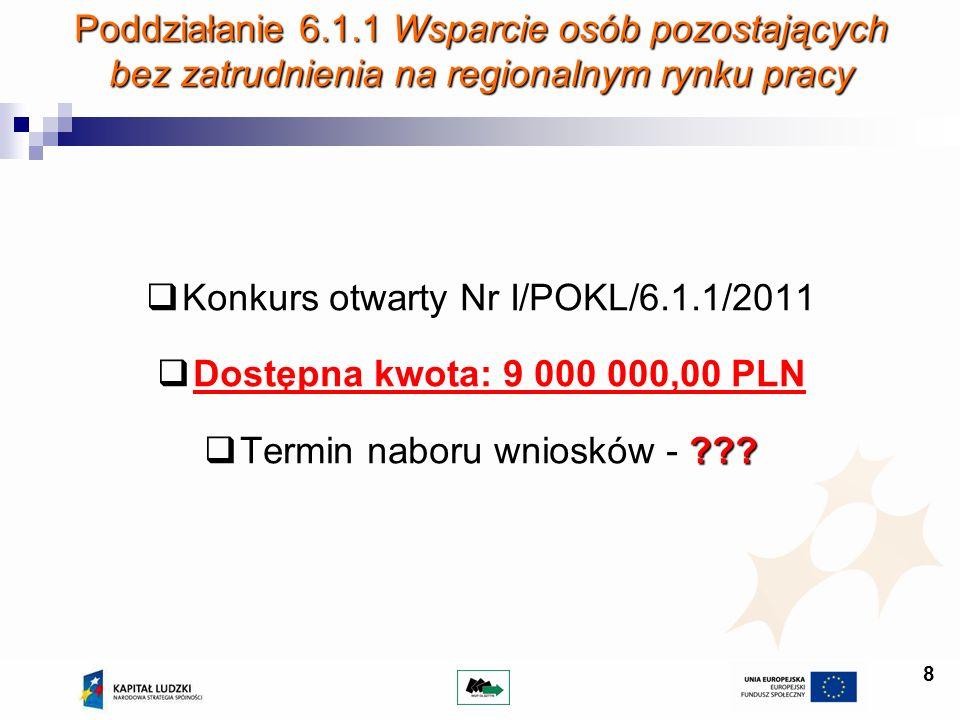 Konkurs otwarty Nr I/POKL/6.1.1/2011 Dostępna kwota: 9 000 000,00 PLN
