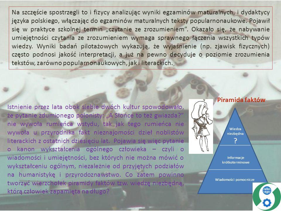 """Na szczęście spostrzegli to i fizycy analizując wyniki egzaminów maturalnych, i dydaktycy języka polskiego, włączając do egzaminów maturalnych teksty popularnonaukowe. Pojawił się w praktyce szkolnej termin """"czytanie ze zrozumieniem . Okazało się, że nabywanie umiejętności czytania ze zrozumieniem wymaga sprawnego łączenia wszystkich typów wiedzy. Wyniki badań pilotażowych wykazują, że wyjaśnienie (np. zjawisk fizycznych) często podnosi jakość interpretacji, a już na pewno decyduje o poziomie zrozumienia tekstów, zarówno popularnonaukowych, jak i literackich."""