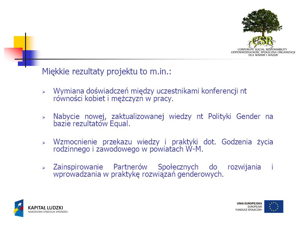 Miękkie rezultaty projektu to m.in.: