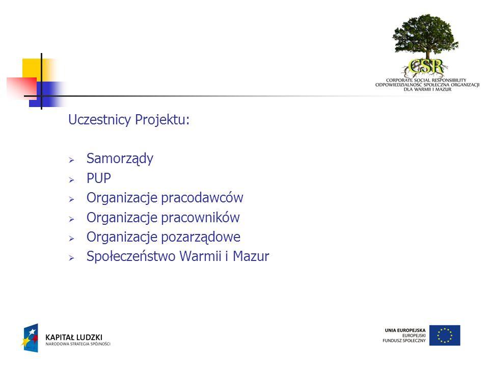 Uczestnicy Projektu: Samorządy. PUP. Organizacje pracodawców. Organizacje pracowników. Organizacje pozarządowe.